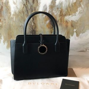 Bvlgari Bulgari Black Leather Alba Medallion Tote